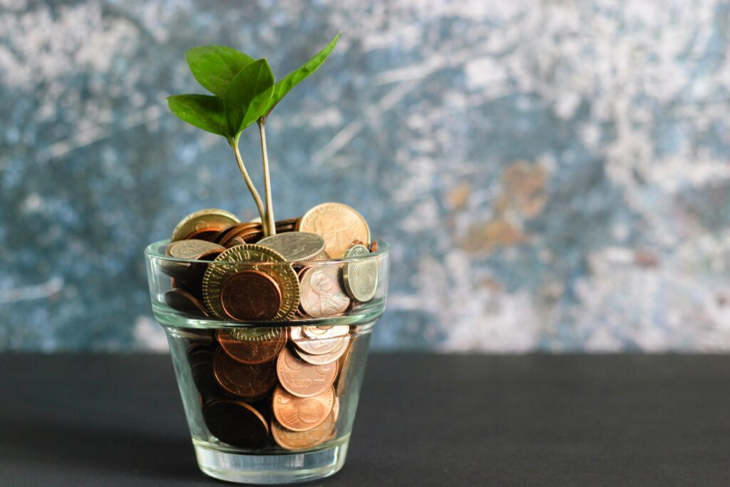 earning and saving money - pile of coins